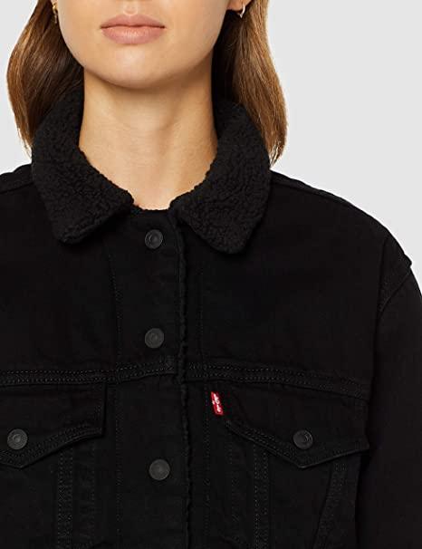 chaqueta vaquera borrego mujer negra levis
